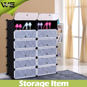 DIY 12-Cube Shoe Cabinet Plastic Shoe Storage Organizer with Doors pictures & photos