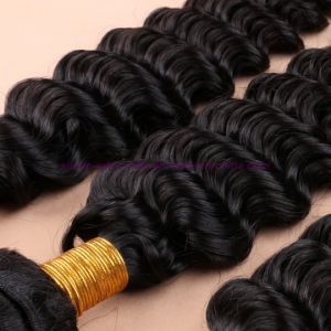 8A Human Hair Weave 3 Bundles Brazilian Deep Wave with Silk Base Closure Virgin Hair with Silk Base Closure pictures & photos