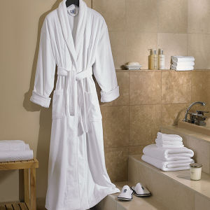 High Quality 5star Hotel Bathrobe White Cotton Velour Luxury Robes pictures & photos
