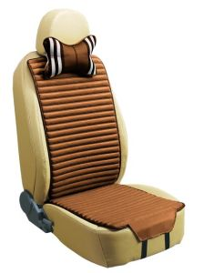 Checked Linen and Velvet Car Seat Cover Double Sides Use-Coffee pictures & photos