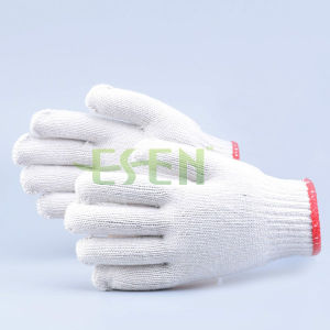 7/10 Gauge White Knitted Cotton Gloves Manufacturer in China/Hand Gloves for Worker pictures & photos