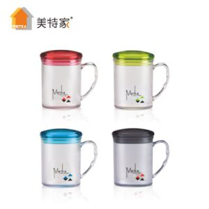 Metka Household Plastic Square Crystal Water Cup (with lid) pictures & photos