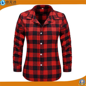 Factory OEM Ladies Fashion Blouse Tops Casual Cotton Shirt