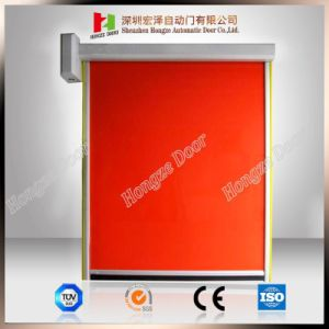 Auto Self-Recovery PVC-Finer High Speed Coiling Fabric Stripe Stacking Roll-up Doors (Hz-FC066) pictures & photos