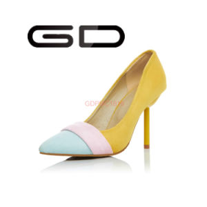 Gdshoe Manufacture Supply Ladies Suede Leather High Heel Shoes pictures & photos