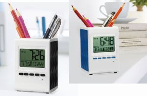9 Kinds of Music Alarm Digital Standing Clock with Penholder and Birthday Reminder pictures & photos