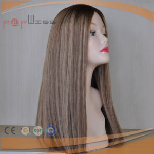 Long Human Hair Blond Omber Color Silk Top Women Wig pictures & photos