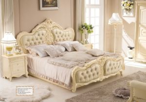 Royal Cheap Leather King Size Bed for Home (LB-026)