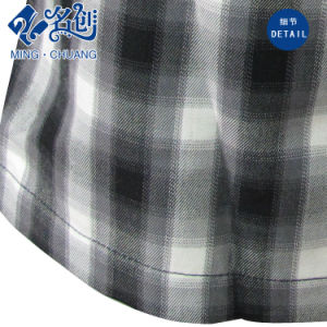 Gray Plaid Belt Pleated Ladies Sexy Miniskirt pictures & photos