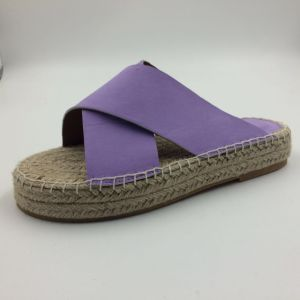 Purple Canvas Linen Sandals Shoes