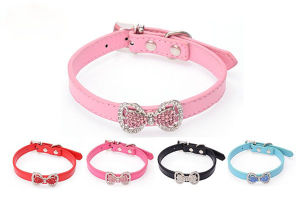 Cute Bowtie Pet Supply Rhinestone PU Dog Collars pictures & photos