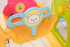 2017 Deer Cheap Style Children Plastic Slide and Swing for Garden (HBS17004C) pictures & photos