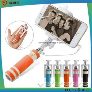 Handheld Mini Wired Handheld Selfie Stick for iPhone Samsung Phone-Orange pictures & photos