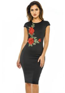 Black Bodycon MIDI Embrodiery Women Dress for Capped Sleeve pictures & photos