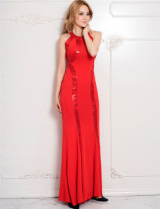 New Arrivals Wholesale Red OEM Services Brand 2017 Sequined Long Cutout Prom Dresses pictures & photos