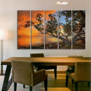 Multi Panel Landscape Canvas/Group Sunset High Quality Painting/Seascape Stretched Canvas Printing pictures & photos