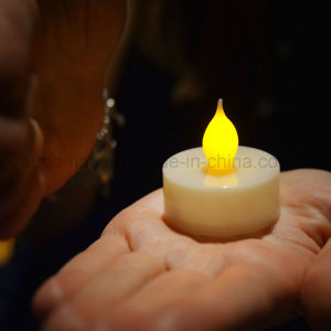 Hot Party Supply Cr2032 Battery Operated Yellow Flicker LED Tealight Candle pictures & photos