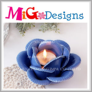Attractive Blue Flower Shaped Candle Holder for Home Decoration pictures & photos