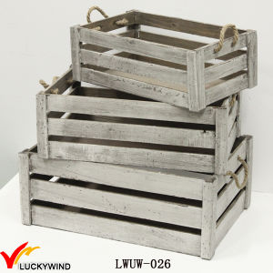 Gray Antique Flower Crate Wooden Planter with Handle pictures & photos