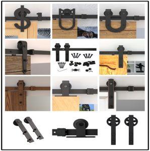 Black Carbon Steel Wood Interior Sliding Barn Door Hardware (LS--SDU-008)