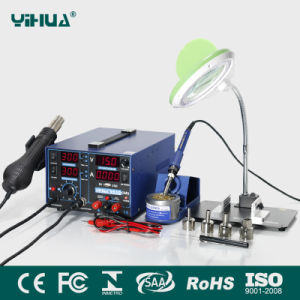 Yihua 853D 2A 4 LED Rework Station with 5V USB Desoldering Station with Magnifier Lamp with Bracket Plate + Small Electronic Board Fixture pictures & photos