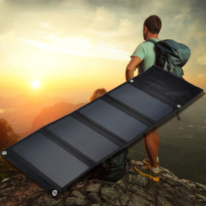 26W 5V Sunpower Efficiency Solar Panel Foldable Portable Power Bank Solar Charger pictures & photos