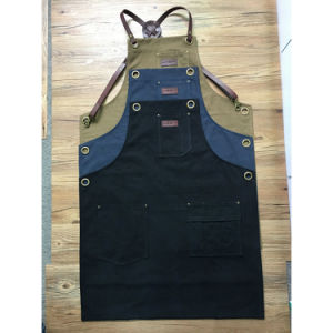Factory Handmade Durable Brown Canvas Barber Aprons with Cross Back Leather Strap pictures & photos