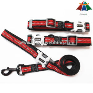 Hot-Sale High-Quality Black & Red 20mm Sport Style Polyester/Nylon Leash & Adjustable Collar with Reflective Strip pictures & photos