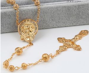 43062 Fashion 18k Gold Bead Cross Jewelry Necklace in Metal Alloy pictures & photos
