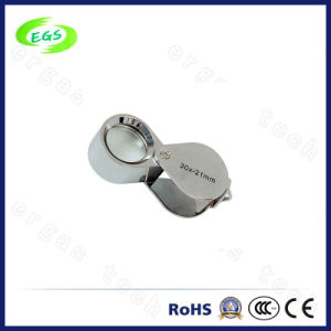 Battery Operated 30X2 LED Light Folding Pocket Magnifier for Jewelry pictures & photos