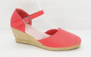 Women′s Fashion Canvas Espadrille Wedge Sandals pictures & photos