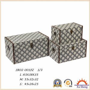 3-PC Upholstered Lift Top Linen Print Storage Ottoman Bench Bedroom Furniture pictures & photos