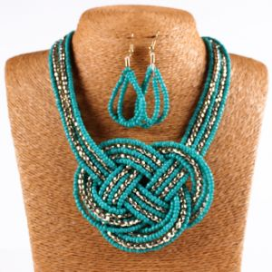 Bohemian Beads Braided Earring Collar Choker Necklace Set Fashion Jewelry pictures & photos