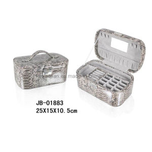 Fashion Oval Shape Snake Leather Jewelry Storage Box Jewelry Box pictures & photos