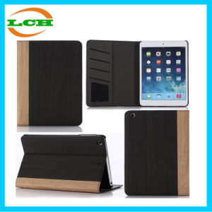 Card Slot Book Type Wood Grain Leather Case for iPad pictures & photos