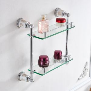 FLG Chrome Double Layer Bathroom Glass Shelf Bath Fitting pictures & photos