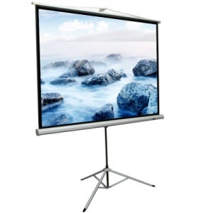 Auto Lock HD Manual Pull Down Projector Projection Screen with Portable Tripod pictures & photos
