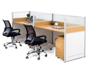 2 Seats Straight Desk Workstation Cluster Staff Office Partition (HX-NCD324) pictures & photos