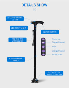 Topmedi Handicapped Scalable Multi-Functional Intelligent Walking Stick for Elderly pictures & photos