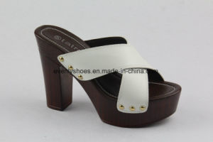 PU Cross Upper Opentoe Sandal Women Shoes with High Heel pictures & photos