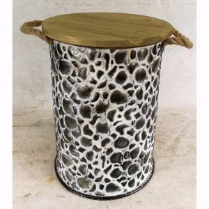 Antique Metal Round Tin Storage Stool pictures & photos