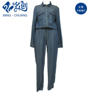 Dark-Blue Long Sleeve Turn-Down Collar Button Pockets Jeans Ladies Suit pictures & photos