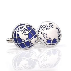 Zinc Alloy World Map Cufflinks Globe Traveler Blue Color Enamel Silver pictures & photos