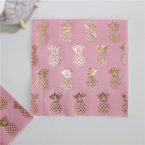 High Quality 2017 New Design Foiling Pineapple Napkin for Party pictures & photos