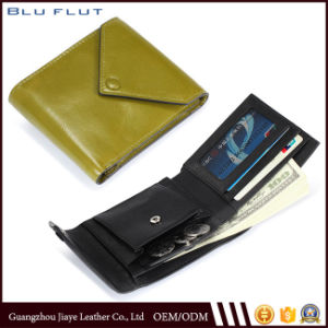 Simple Design Leather Credit Card Holder Wallet with Coin Purse pictures & photos