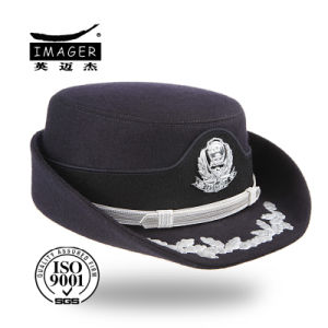 Black Bucket Cap with Metal Badge pictures & photos