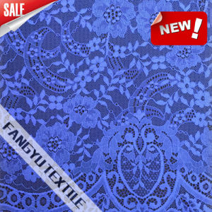 100%Nylon Blue Flower Pattern Lace Fabric