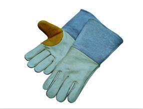 Cow Grain Leather Palm/Back Split Leather Cuff Welding Glove-6518 pictures & photos