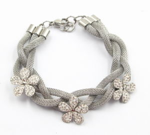 Silver Stainless Steel Bracelet with Zirconia Flower Charms pictures & photos