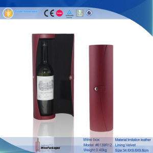 PU Leather Round Tube Cardboard Wine Bottles Gift Box (6139R12) pictures & photos